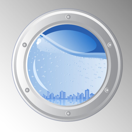 ponořený: Vector abstract background. The city is submerged. Urban landscape of the ships porthole.