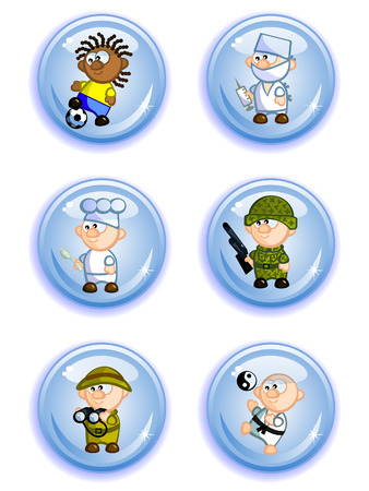 representatives: Football player, doctor, cook, soldier. researcher, karate. Isolated. Illustration