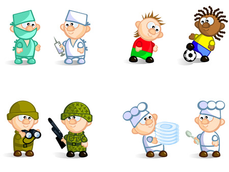 Football players, doctors, cooks, soldiers.  Isolated. Vector