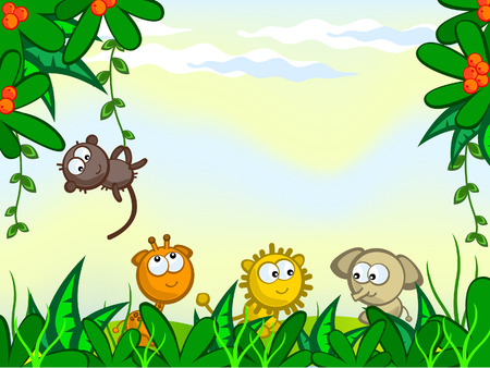 Jungle. The frame of the plant. They protrude from African animals. Monkey, giraffe, lion, elephant. Illustration