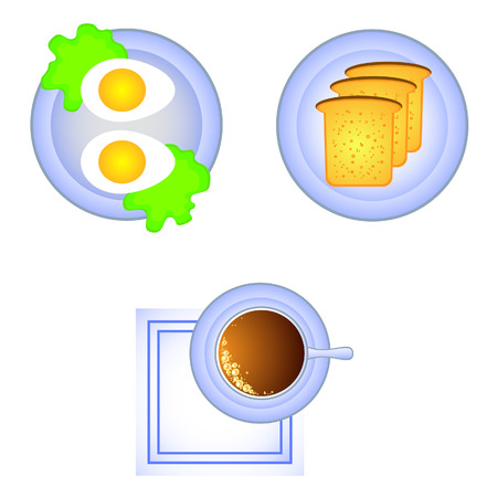 boiled: Breakfast view from above. A cup of coffee, toast, boiled egg. Illustration