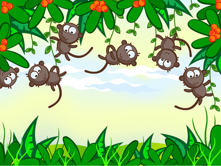 hung: cartoon background. Jungle. The frame of the plant. The nice monkeys hung on trees. African animals.
