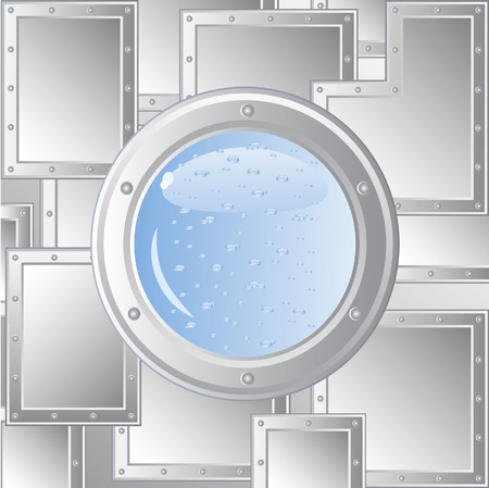 scuttle: Vector image of the ships porthole. The wall of metal plates fastened with rivets. Behind him is visible water. Immersion in water.  Illustration