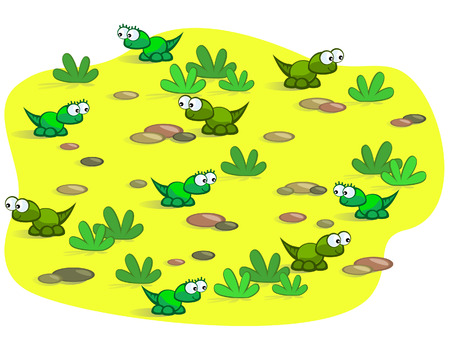 The nice cartoon lizards on background of sand and stones. Baby. Nice. Vector