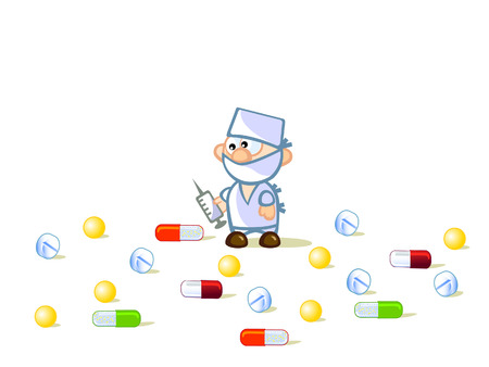Cartoon figure of a doctor. He holds the syringe. Around it are scattered pills.  Stock Vector - 9095877