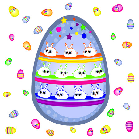 On Easter egg painted rabbits.  Vector