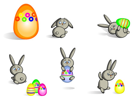 Set of isolated Easter bunnies and eggs.  Vector