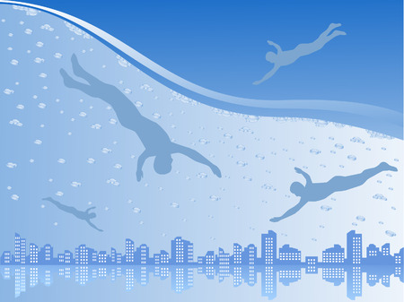 The city is submerged under water. The divers swim to it.  Vector