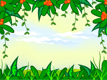 cartoon jungle: cartoon background. Jungle. The frame of the tropical  plant.