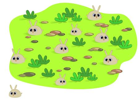 Cute cartoon rabbits in a meadow.  Vector