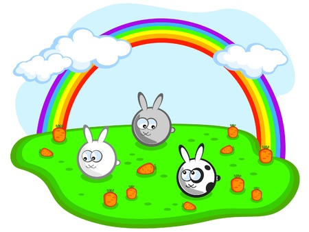 Three cute rabbit in a meadow with carrots. Rainbow in the sky.  Vector