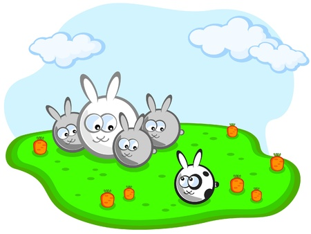 Family of rabbits in a meadow with carrots. Separately, sits another rabbit is not like them.