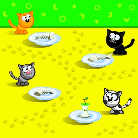 Four cats eating. Beside three fish bones. Beside other leftover bit an apple. Cartoon Vector scene. Humour. Vector