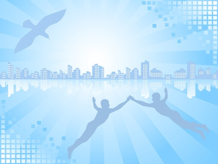 Background of blue color. On a line of horizon a city landscape. The two mans and a bird aspire there. Stock Vector - 9349831