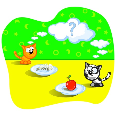 Two cats eating. Beside one fish bones. Beside other apple. Perplexity. Question. Cartoon Vector scene. Humour. Vector