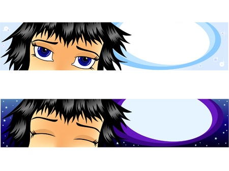 Set vector banners. A girl dreams of. Day and night. Vector