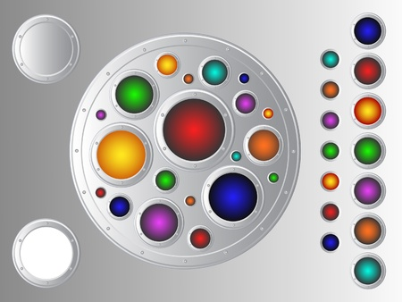 Set of metal decorative objects. Multi-colored buttons, frames and more. Vector