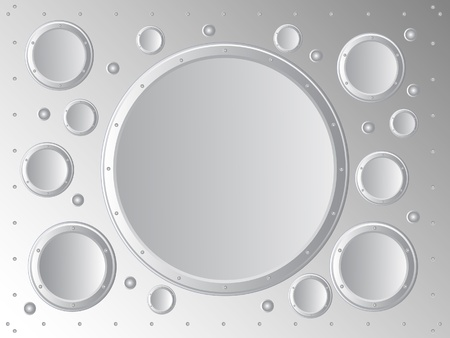 Vector background. On the background of the sheet metal abstraction of metal circles.