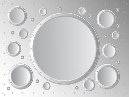 lamiera metallica: Vector background. Sul fondo della astrazione lamiera di cerchi metallici. Vettoriali