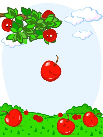 Branch of a tree with apples. The apple falls. Harvest. Comics. Vector