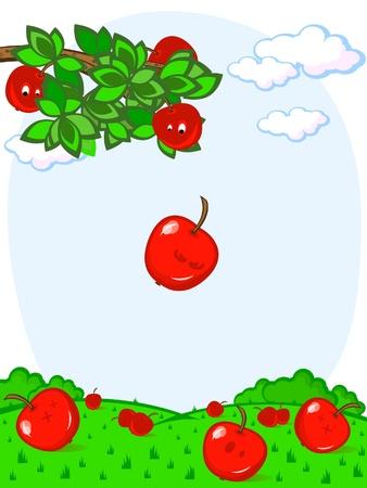 frutas divertidas: Rama de un árbol con manzanas. Cae la manzana. Cosecha. Cómics. Vectores