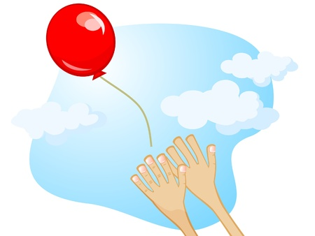 Balloon flies away from his hands. Vector cartoon drawing. Illustration
