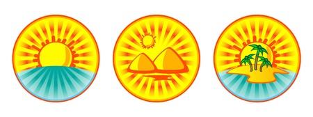 A set of tropical vector buttons. Sea, sun, palm trees, priramidy. Egypt. Stock Vector - 9614543
