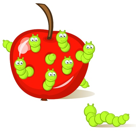 Funny caterpillar sitting in an apple. One larva looks at them from the side. An isolated figure. Comics. Vector