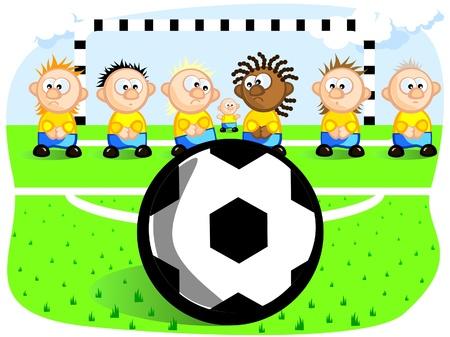 sports venue: Jugadores de f�tbol se preparan para la pena. Ball. Gates. Campo de f�tbol. Vector de cartoon dibujo. Chistes.