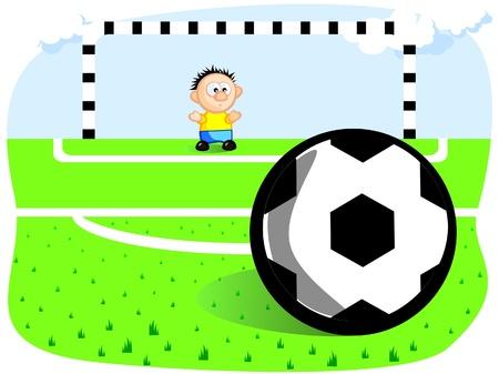 futbol soccer dibujos: El portero defiende el objetivo. Pena. Ball. Gates. Campo de fútbol. Vector de cartoon dibujo. Chistes.