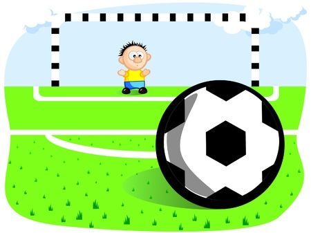 The goalkeeper defends the goal. Penalty. Ball. Gates. Football field. Vector cartoon drawing. Jokes. Vector