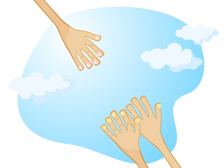 Against the sky stretched out a helping hand from above. To stretch her two hands. Vector cartoon drawing.