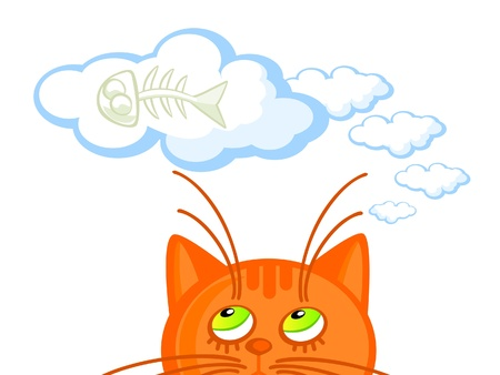 daydream: Red cat dream about eating fish bones. Cartoon Vector isolated scene.