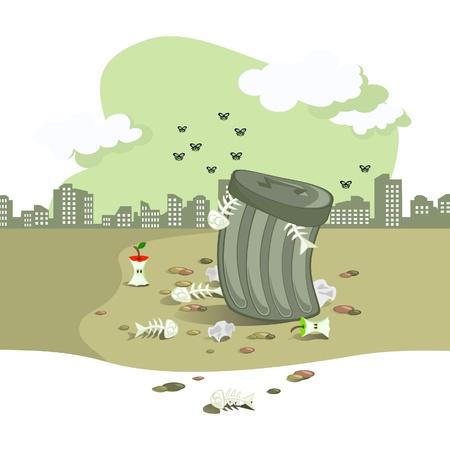 basura: La escena vectorial. En el fondo del tanque de basura la ciudad paisaje. Alrededor de strewned basura. El tono gris. Vectores