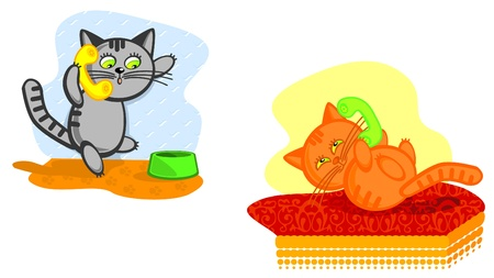 Two nice cats speak on telephone. Vector cartoon scene. Sulfuric and redhead a cat. Vector