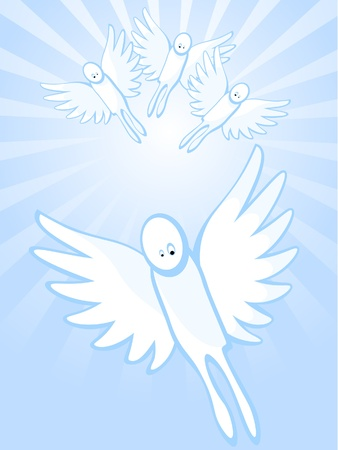 archangel: Background of blue color. Angels in heavens. One angel flies ahead of others.