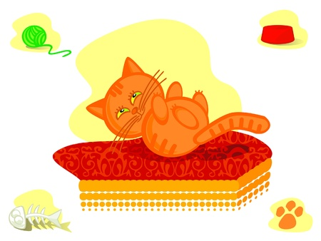 The Sweetie pussy cat rests upon soft mattress. The Set insulated vector drawings. Vector
