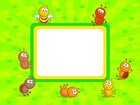 Cheerful comical insects in different poses. Background green. Frame. Vector
