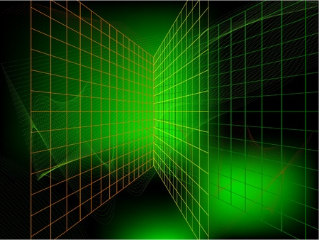 sine wave: The Green abstract vector background. The Play of light. The Network. The Web. The Lattices.