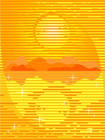 The Vector background orange. The Seascape. The Sundown. The Reflection. Vector