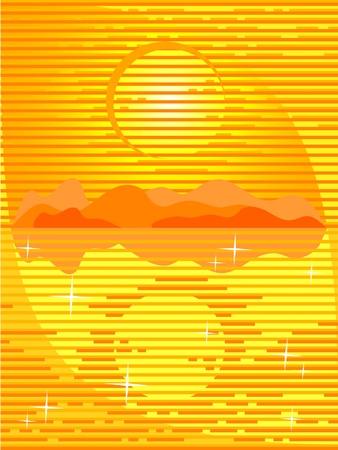 briliance: The Vector background orange. The Seascape. The Sundown. The Reflection.