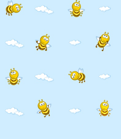 swarm: The Seamless vector texture. On background of blue sky flying bees. Ð¡artoon. Baby wallpaper.