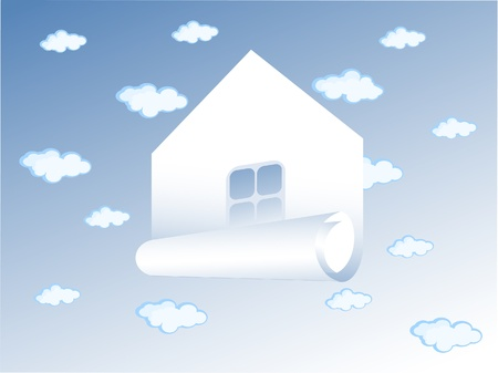 The Vector drawing of house. The Background blue sky. Some clouds in it. The house stylized as Roll of paper.   Vector