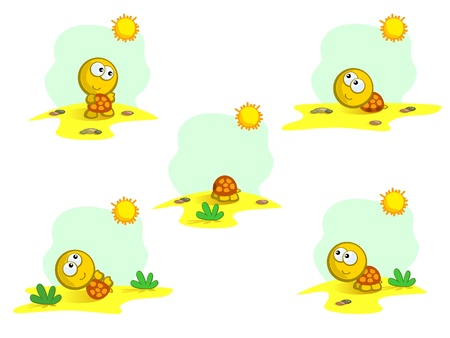 cartoon sketches set with a cute turtle. baby. isolated. vector. desert, animals, nature. Vector