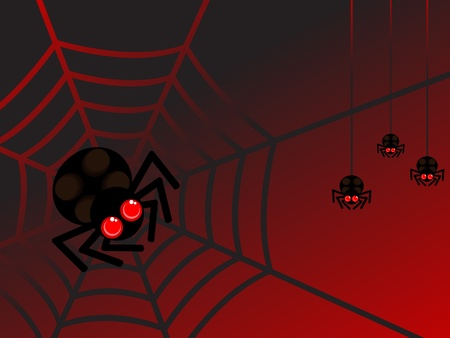 spiderweb: cute spider in web. three spider hanging from behind. halloween. vector red and black background. Illustration