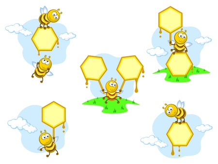 comical cheerful bees. set of vector banners. frameworks. comical cheerful bees. medical. honeycombs. Illustration