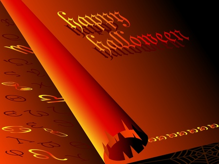 ancient scroll: Congratulations on Halloween background in the form of an ancient scroll. Red with gold characters. Illustration