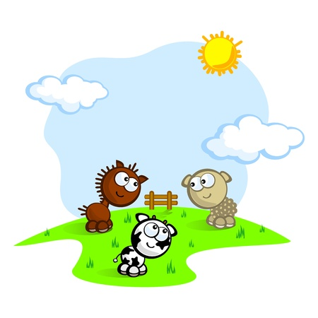 Vector drawing cute pet on a farm. Childrens comical. The cow, horse and sheep on the lawn. Vector