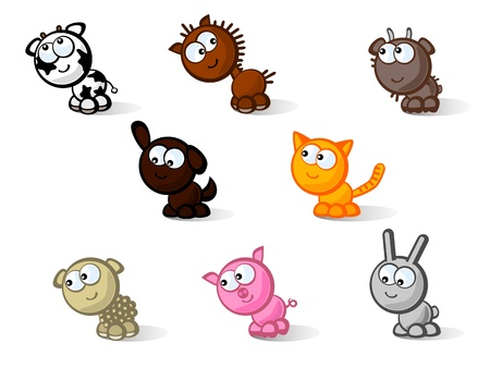 mammals: Set of vector icons isolated. Cute farm animals. Childrens comic style drawings.