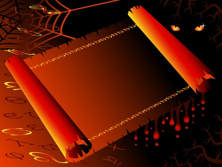 ancient scroll: Halloween blank background in the form of an ancient scroll. Mysterious, frightening. Illustration